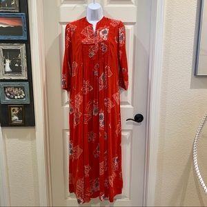Hawaiian Tiki Smock Maxi Dress